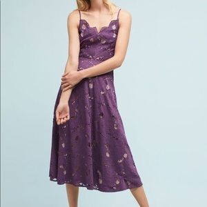 Anthropologie purple scalloped lace dress 4 NWT